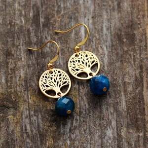 Earrings for Women Apatite Gold Tone Tree Charm Drop Earring Bohemian Natural Stone Jewelry Femme Dropship Gifts