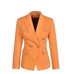 Automne Femmes OL Blazer solide Veste à double boutonnage Femme Lapel Neck Slim Suit Spring