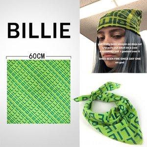 0prD5 Billie Eilish grün weibliche Star gleichen Stil Billie Eilish Kopf-Platz Kopftuch grünes Quadrat Schal weibliche Star gleichen Stil
