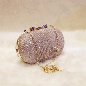 Golden Evening Clutch Bag Women Bags Wedding Shiny Handbags Bridal Metal Bow Clutches Bag Shoulder Bag