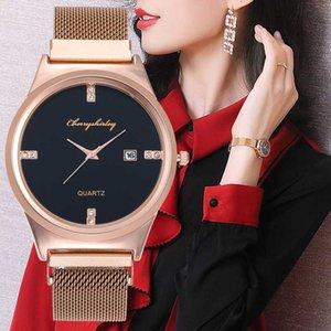 Kalender Frauen-Uhr-Mode Einfacher Strass Dial Schmuck-Quarz-Armbanduhr-Charme Female Mesh-Bügel-Uhr Relogio Feminino