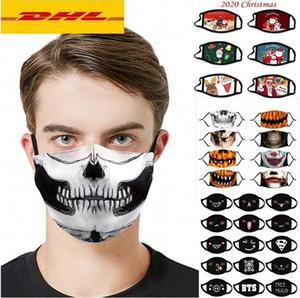 ABD STOK Tasarımcı Noel Halloween Bez Yüz Maskesi PM2.5 Filtre Pamuk ABD Kadın Erkek Moda Kış Yıkanabilir Parti Lumious Maske fy9181