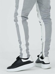 Slim Natural Color Pencil Pants Mens Clothing Mens Active Pants Fashion Side Stripe Panelled Pants Casual