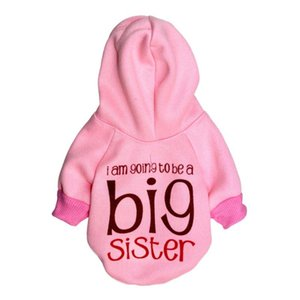 """Pet Dog Clothes Winter Hoodies """"Big Sister"""" Clothing For Small Medium Dogs Puppy Coat Teddy Outfit Yorkshire Jacket Cat Suit"""