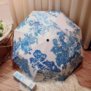 Tiger Stampa Ombrello con ombrello pieghevole esterna di protezione di lusso Box Designer UV automatico antipioggia antivento dell'ombrello di trasporto