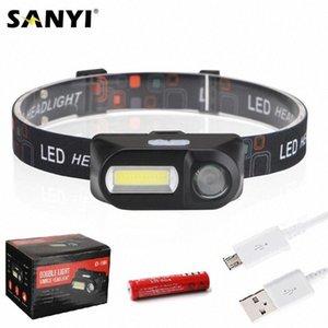 Sanyi Mini COB LED Headlight Headlamp Head Lamp USB Rechargeable 18650 Torch Camping Hiking Night Fishing Light nWoZ#