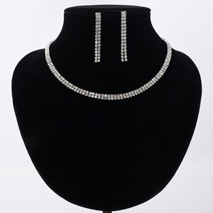 Women Sparkling Rhinestone Crystal Necklace Earrings Charm Wedding Bridal Set Charms Jewelry Wholesale Gifts #N164
