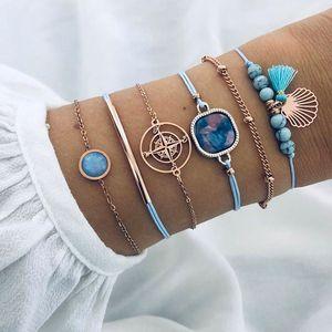 S1778 Hot Fashion Jewelry Vintage Bracelet Set Geometric Compass Tassel Beads Chain Bracelets 6pcs set