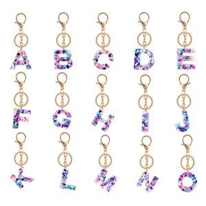 Mode Letters Keychain kreativer bunter Schlüsselanhänger 26 englischer Buchstabe-Initiale Resin Handtasche Keyring-Zusätze für Frauen-Weihnachtsgeschenk