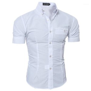Homme Tops Summer Mens Shirts Short Sleeve Business Formal Slim Shirts Casual Solid Color Single Breasted