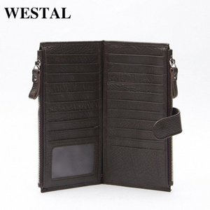 Wholesale WESTAL Genuine Leather Men Standard Wallets Man Double Zipper Wallet Mens Purse Clutch Bag Male Cowhide Leather Wallet 8057 MKJm#
