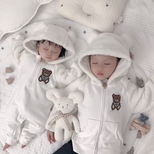 Outono inverno recém-nascido macacão bebê jumpsuit hoodies macacão garotas meninas meninos aquecidos jaqueta recém-nascido toddle bebê macacão