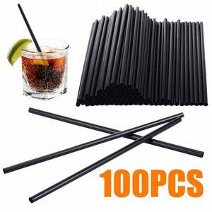 100pcs / lot 21 * 0.6cm Siyah Kokteyl Payet Plastik İçme Straw DIY Parti Straw Home For Doğum Düğün Supplies19362 sLyY #