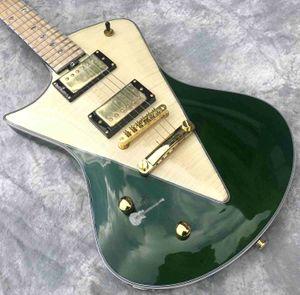 Custom 2020 Yeni Şekli Sol Özelleştirilmiş Gitar Bas Projesi Kabul Yeşil Maun Gövde Gülağacı içinde Electric Guitar Handed