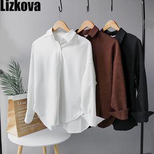 Lizkova Blanc Corduroy Shirt officiel Femme manches longues Chemisier officiel dames surdimensionnée Hauts LJ200922