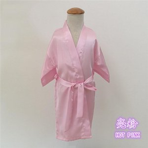 Pure Color Silky Child Nightgown Sleeprobe Summer Thin Children Cardigan Robe Girls Casual Bathrobe Home Clothing Wholesale