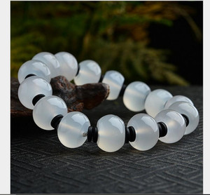 Ice white chalcedony Passepartout drum-shaped bead bracelet men and women handmade jade bead bracelet wholesale