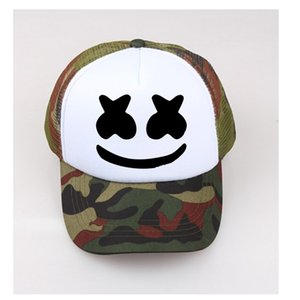 Marshmello Face Hat Kids baseball cap Face Adult Sun Caps Men's Summer black hats adjust size Child Unisex Net Cap Custom LOGO