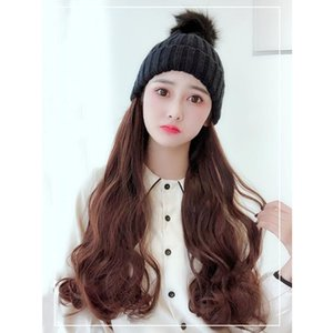XIYUE High Temperature Resistant Fiber Synthetic Knitted Hat Big Wave Long Curly Wig Multicolor Optional Girl Wool Cap Cute