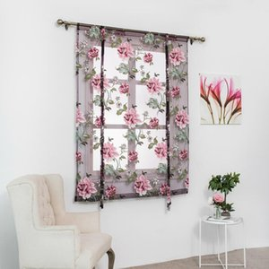 Peony Flower Type Roman Short Curtains Use for Living Room Kitchen Burnt-out Flower Tulle Semi-shading Curtains