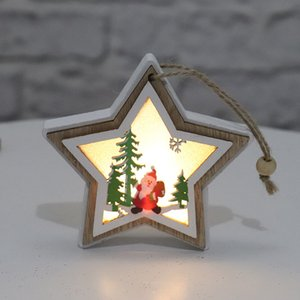 Navidad Iluminada Colgante de madera Árbol de Navidad Bell Gift Star Star Diseño Colgante Colgante Feliz Navidad Árbol Colgando Ornamento HWB2692