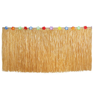 Hawaiian Straw Table Skirt , Fringe Party Decoration for Graduation Ceremony or Costume Party 580CMx75CM