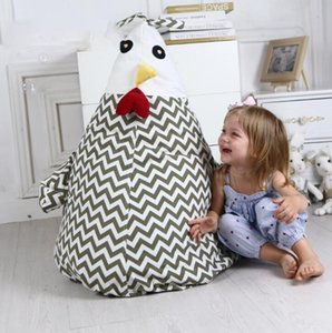 Cadeira de feijão frango Storage Bag Stuffed desenhos animados portátil LJJK1488N saco Crianças Toy Storage Bag malote macio Clothes Organizer