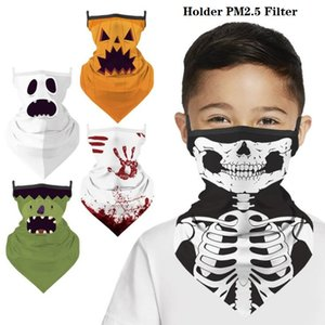 Hallowmas Skull Face Shield Bandana Outdoor Riding Face Mask Magic Headscarf Headband Visor Neck Gaiter Halloween Decoration Gifts BWB1936