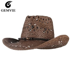 GEMVIE New Cowgirl Summer Hat For Women Paper Straw Hat For Men Outback Western Cowboy Sun Beach Cap