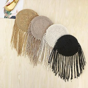 Stylish Woven Tassel Shoulder Messenger Handbags Women Round Knitted Summer Bohemia Beach Crossbody Bags Brown Beige Grey Black