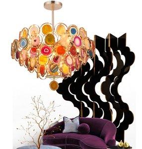 Doğal akik taşı avize yaratıcı oda salon kolye doğal renkli akik ateşböceği lambaları yanar açtı