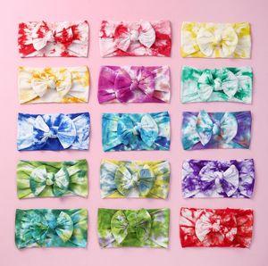 Enfants Bow Tie Bandeaux imprimés Filles bowknot Bandeaux bande souple en nylon élastique bébé cheveux Bandeau cheveux Enfants Accessoires FWB1997