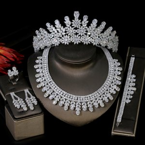 Luxury Bridal Wedding 5-Piece Set Dubai Full Set Of Women Jewelry Cubic Oxide Crown Wedding Headdress And Necklace Set