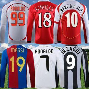 Manga larga Retra Real Madrid Zidane Raul R.Carlos Soccer Jersey Japón Rivaldo Ronaldinho Ronaldo España Camisa de fútbol clásico