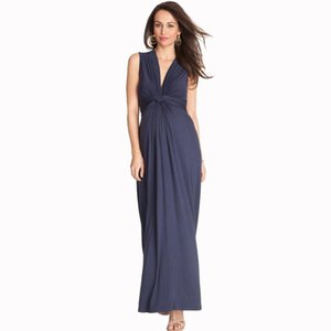 Deep V Front Knot Long Maternity Maxi Dress Ankle Length Wedding Banquet Evening Pregnancy Dress with Sash for Pregnant Women
