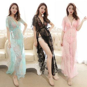 dbXuZ Pyjamas reizWimpern Spitze perspektivische skirt Unterwäsche-Spitze groß Pyjamas lang Nachthemd Satz Unterwäsche