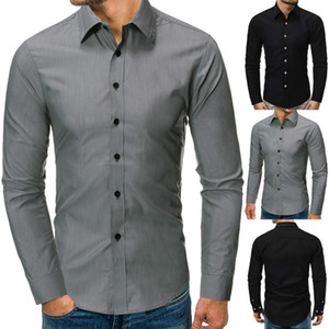 New Fashion Shirt Men's Solid Business Suit Long Sleeve Casual Slim Shirt Hot Sale