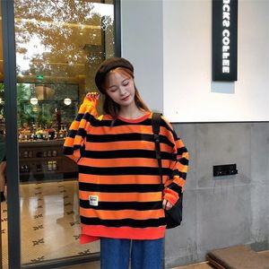 Hot Sale Round neck striped Top Sweater Coat sweater fleece Korean style all-match coat women's ulzzang super hot cec top women's loose