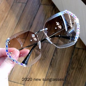 Sunglasses 2021 Vintage Fashion Oversized Diamond Rimless Women Luxury Cutting Lens Sun Glasses For Female UV400 NX