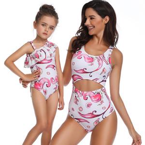 2019 Family Matching Outfits Swimwear Mother Daughter Cartoon Pattern one-Piece Swimsuit Bikini Bathing Suit Brachwear Swimwear