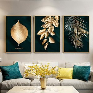 Abstract Black and Golden Plant Painting Wall Poster Modern Style Canvas Print Picture Art Aisle Living Room Office Luxury Decor