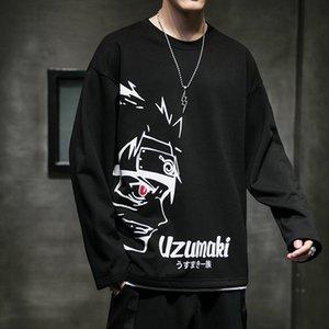 Arrefecer-shirt dos homens de Naruto manga comprida Harajuku japonesa Anime Streetwear 2020 T-shirt Hip Hop velo Naruto T-shirt manga comprida