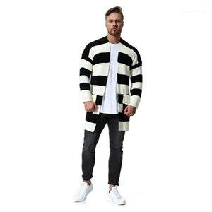 Slim poches Cardigans hommes Vêtements décontractés noir et blanc à rayures lambrissé Mens Designer Fashion Chandails