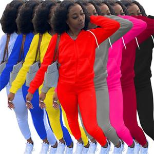 sportswear Mulheres cor sólida Treino jaqueta de 2 peças conjunto de manga longa hoodes casaco + leggings esportivos basculador ternos de inverno roupas casuais 3817