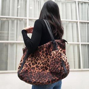 Mabula manera de las mujeres del leopardo del bolso de hombro de gran capacidad de trabajo Bolsa de tela de algodón Hangbag viaje de compras con el pequeño bolsillo