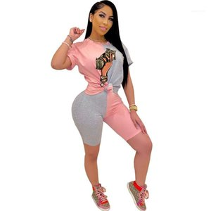Clothing 2 Piece Set Womens Designer Tracksuits Casual Patchwork Color Short Sleeve Top Short Pants Women S