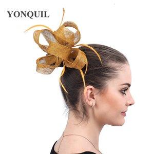 gold fashion headwear bride elegant fedora cap fancy feather fascinator hat hair pin fancy feather hair accessories