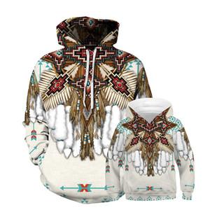 Europäische und amerikanische New Indian Feder Digital gedruckte Kinderbekleidung mit Kapuze Strickjacke-beiläufige lose Eltern-Kind-Wear