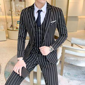 Classic striped suit men's formal business slim suit Terno homens groom tuxedo wedding men's sets 3pcs (blazer+pants+vest)