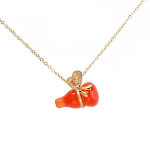 Fashion Colorful Opal Gourd Necklaces Clavicle Chain Pendant Lady Necklace Bow Gourd Shape Charm Choker Lucky Designer Jewelry Party Gifts